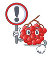 with sign rowan berries fruit on cartoon wood vector image vector image