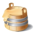 Wooden barrel of honey with metal silver clamps vector image