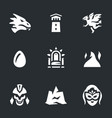set of fantasy story icons vector image