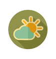 Sun and cloud retro flat icon Weather vector image