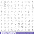 100 market icons set outline style vector image