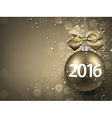 2016 New year golden background with bauble vector image vector image