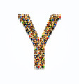 a group of people in of english alphabet letter y vector image