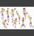 basketball players same team action stickers vector image