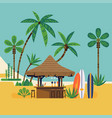 beach bar surrounded with palm trees vector image vector image