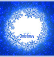 blue christmas festival snowflakes card with text vector image