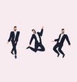 businessmen standing different poses smiling vector image