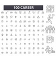 career editable line icons 100 set vector image vector image