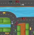 Cars on road along the river vector image vector image