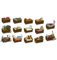 cartoon wooden market stand with different goods vector image