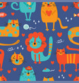 cat cloth hand drawn seamless pattern vector image vector image