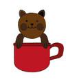 cat inside cup cartoon pet animal icon image vector image vector image