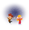 child looking snow falling with his mouth open vector image vector image