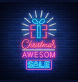 christmas festive sale of a poster in a neon style vector image vector image