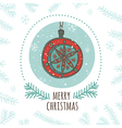 Christmas greeting card with bauble round vector image vector image