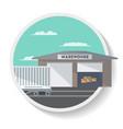 commercial railway wagon near warehouse vector image vector image