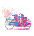 Cute card with bike vector image vector image