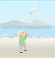 cute little boy with flying kite isolated on beach vector image