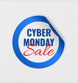 cyber monday sale black round sticker with curled vector image