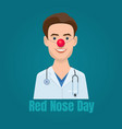 Doctor with a red clown nose and a stethoscope