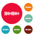 equalizer sound icons circle set vector image vector image