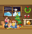 family sitting in front of christmas tree vector image