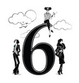 fashion girls in sketch style with number six vector image