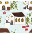 festive winter snowman village seamless christmas vector image