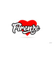 firenze city design typography with red heart vector image