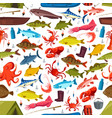 fishes and mollusks fishing seamless vector image vector image