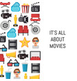 flat cinema icons background with place vector image vector image