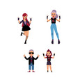 flat elderly young rock women set vector image