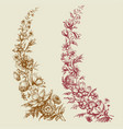 floral branches retro style vector image