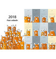 funny foxes calendar 2018 design vector image vector image
