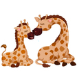 funny giraffe cartoon with her baby vector image