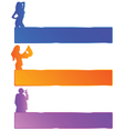 girl and man in three color with mesagge space vector image vector image