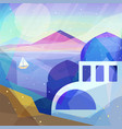 greece landscape in low poly geometric style vector image vector image