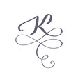 hand drawn calligraphic floral k monogram vector image vector image