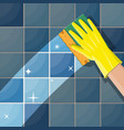 hand in gloves with sponge wash wall vector image