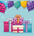 happy birthday with presents gifts and balloons vector image