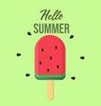 hello summer lettering and ice cream in shape vector image