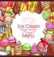 ice cream desserts sketch menu poster vector image vector image
