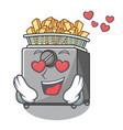 in love cooking french fries in deep fryer cartoon vector image vector image