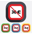 No 30 Euro sign icon EUR currency symbol vector image vector image