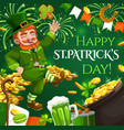 patricks day leprechaun and gold coins fireworks vector image vector image