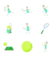 Play in tennis icons set cartoon style vector image vector image