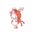 santa riding a reindeer in christmas cartoon vector image vector image