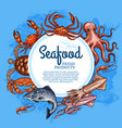 seafood and fish crab salmon shrimp squid vector image vector image