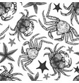 seafood seamless pattern hand drawn seafood vector image vector image