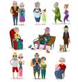 Senior People Cartoon Set vector image vector image